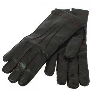 Gant cuir noir Luxe, agneau-laine, fil rouge, fait main en Italie. GUANTI  DI ARCUCCI