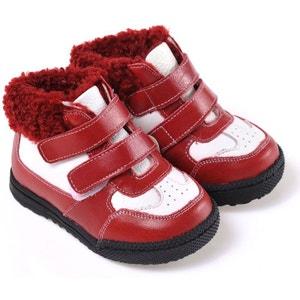 Chaussures semelle souple | Montantes fourrées rouge et blanche CAROCH