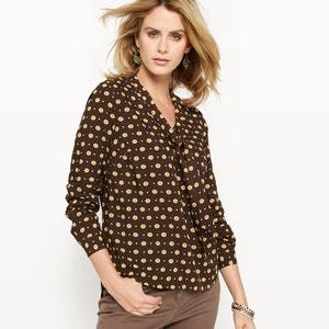 Bedrukte blouse met lavallière ANNE WEYBURN