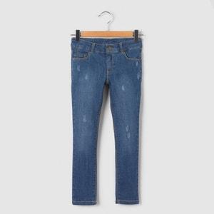 Jeans slim com efeitos usados, 3-12 anos La Redoute Collections