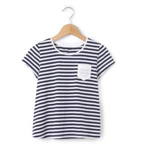 T-shirt bi-matière rayé 3-12 ans La Redoute Collections