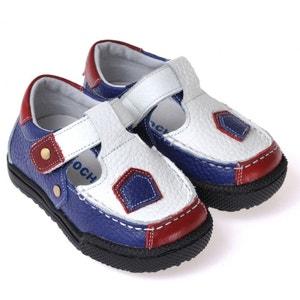 Chaussures semelle souple ultra résistante| Baskets blanches bleu et rouge CAROCH