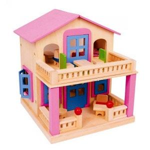 Très belle maison de poupée en bois avec toit aimanté amovible - Livrée avec 17 meubles ! NONAME