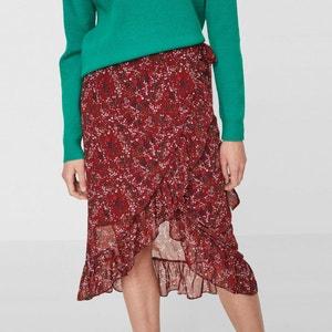Floral Print Frilled Wrapover Skirt VERO MODA