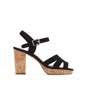 Wide Fit Sandals with Cork Heel, Sizes 38-45 CASTALUNA