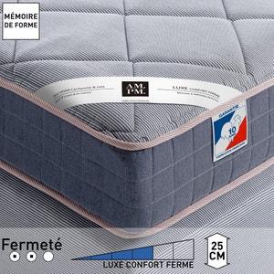 Matelas mousse à mémoire de forme luxe, confort ferme, H25 cm, Altagama AM.PM.