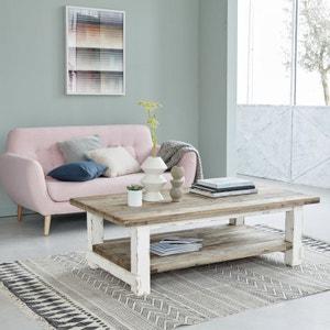 Table basse en bois de pin recyclé 140 cm BOIS DESSUS BOIS DESSOUS
