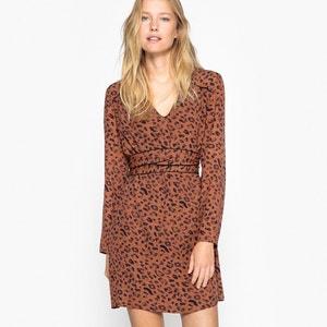 Vestido curto, estampado leopardo, mangas compridas SEE U SOON