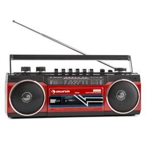 auna Duke Radio cassette rétro Boombox USB MP3 SD Bluetooth tuner FM -rouge AUNA
