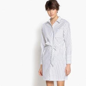 Robe chemise rayée, ceinture cravate La Redoute Collections