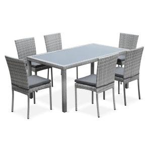 Salon de jardin en résine tressée 6 chaises, Nuances gris, table d'extérieur des ALICE S GARDEN