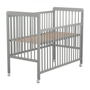 Lit bébé coulissant en bois laqué gris Baby Fox avec roulettes  3 hauteurs 60 x 120 cm BABY FOX
