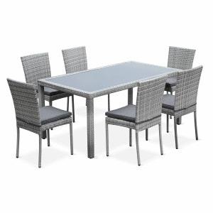 Salon de jardin resine gris la redoute - La redoute table de jardin en resine tressee ...