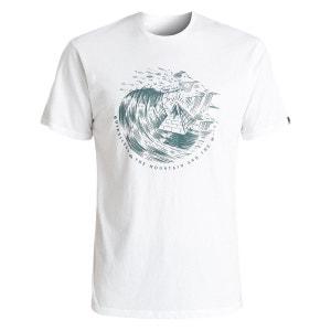 Tee Shirt Garment Dye Engraved White QUIKSILVER