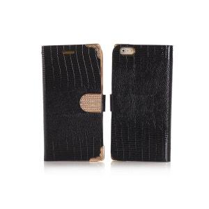 Etui livre croco noir à strass pour Apple iPhone 6 Plus COQUEDISCOUNT