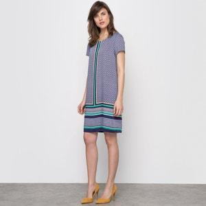 Luźna sukienka z nadrukiem i krótkim rękawem atelier R