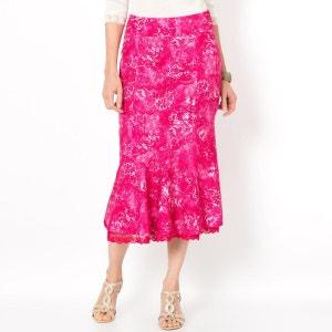 Bedrukte rok met linnen aspect, lengte  75 cm ANNE WEYBURN