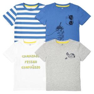 Lote de 4 camisetas estampadas, 3-12 años La Redoute Collections