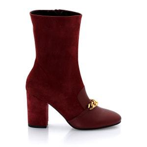 Boots en cuir, à talon, zippées, avec chaine,  Ruxia de COSMOPARIS COSMOPARIS