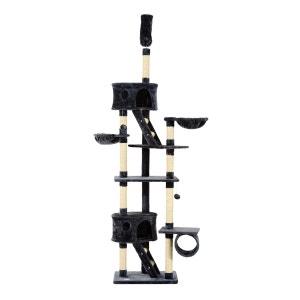 Arbre à chat XXL multi-jeux et accessoires hauteur réglable 240-260 cm gris foncé - Pawhut PAWHUT