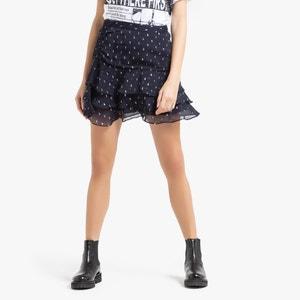 Korte rok in zijde met volants