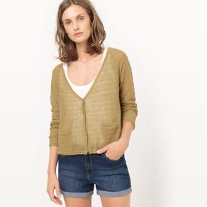 Sweter rozpinany z ażurem, len R studio