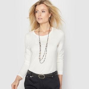 Camiseta lisa con cuello redondo y manga larga ANNE WEYBURN