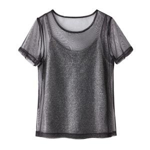 Camiseta 2 en 1 con red y camiseta sin mangas de hilo metalizado La Redoute Collections