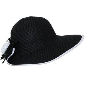 Chapeau capeline noir grosse fleur CHAPEAU-TENDANCE