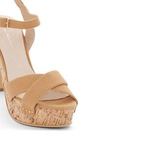 Sandalias de lona, tacón de corcho ANNE WEYBURN