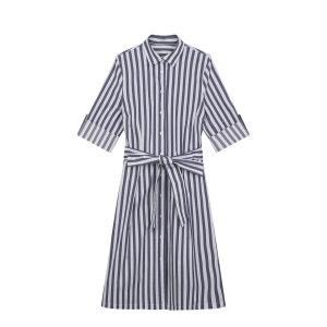 Robe chemise popeline de coton à rayures DEVERNOIS