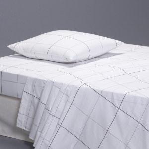Karo Checked Cotton Percale Flat Sheet La Redoute Interieurs