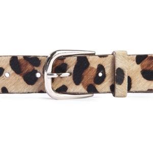Cinturón de piel, estampado leopardo La Redoute Collections