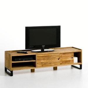 Móvel TV, carvalho maciço malhetado e aço, Hiba La Redoute Interieurs