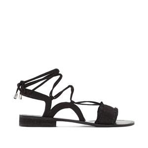Flat Sandal with Ankle Tie CASTALUNA