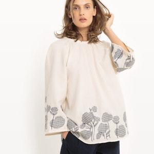Blusa bordada con flores, con corte evasé R studio