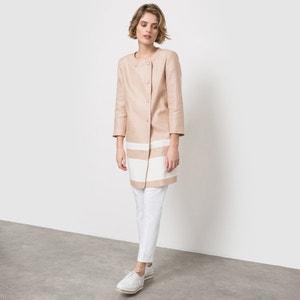 Abrigo de lino, cuello redondo La Redoute Collections
