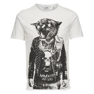 Camiseta con cuello redondo y estampado animal ONLY & SONS