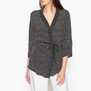Rechte bedrukte kimono in zijde VENTO DIEGA