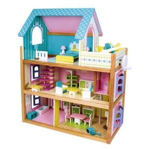 Maison de poupée de rêve ! Avec mobilier et accessoires - Entièrement en bois coloré NONAME