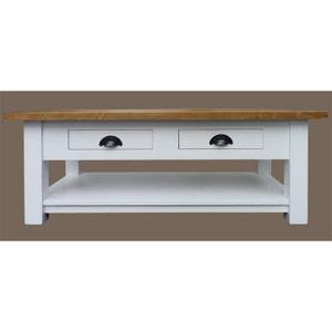 Table basse bois massif 2 tiroirs blanche plateau ciré  |  N131cireblanc MADE IN MEUBLES