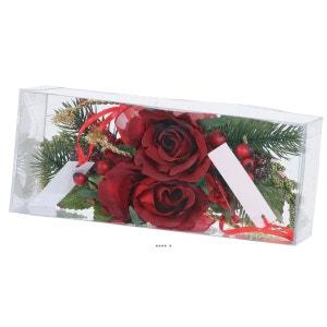 Composition Rose et sapin noel 2 pcs par box 14cm artificielle ARTIFICIELLES
