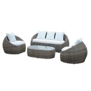 Salon de jardin design arrondi Ritardo en résine tressée arrondie, 4 places, table canapé et fauteuil ALICE S GARDEN