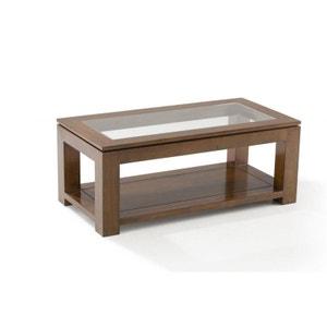 Table basse vitrée hévéa 100X50cm HELENA PIER IMPORT