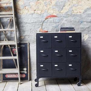 Commode de rangement en métal 9 tiroirs de style Industriel TIKAMOON