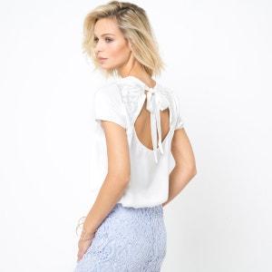 Blusa de mangas curtas, decote atrás bordado LAURA CLEMENT
