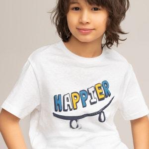 Camiseta de cuello redondo con mensaje 3-12 años