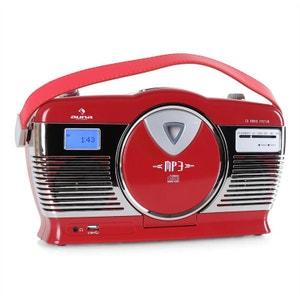 RCD-70 Radio vintage UKW USB CD piles -rouge AUNA
