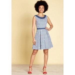 Wijduitlopende geruite korte jurk YUMI