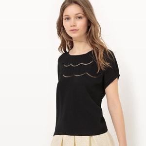 T-Shirt unifarben, Blumendetail vorne MADEMOISELLE R